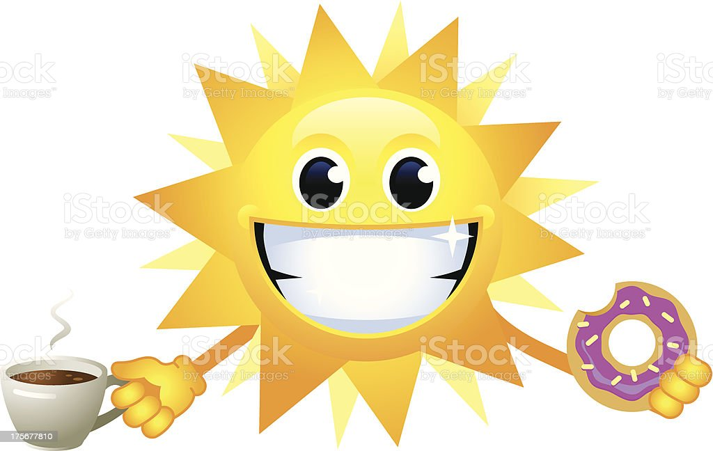Sun with coffee and doughnut royalty-free stock vector art