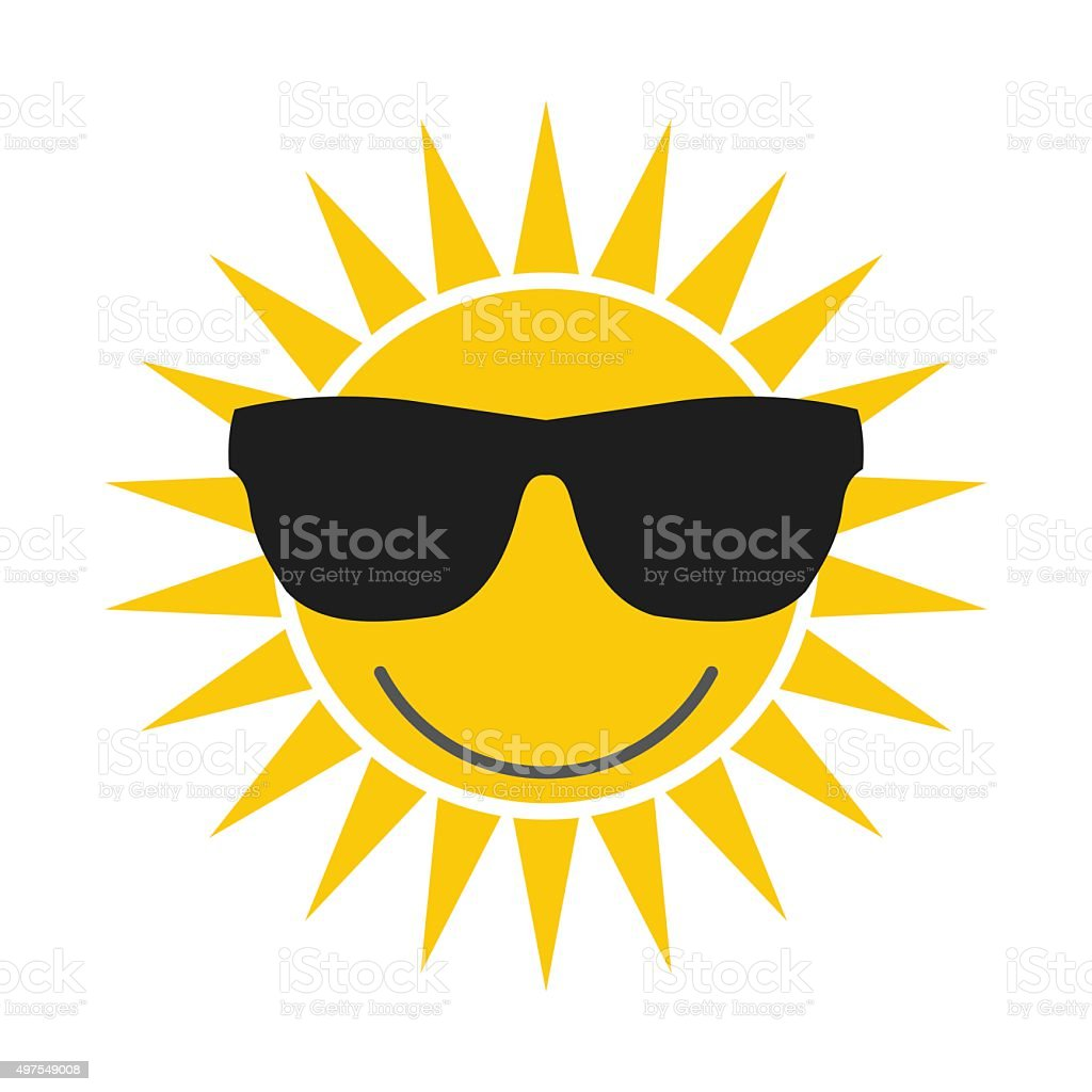 Sun with glasses icon vector art illustration