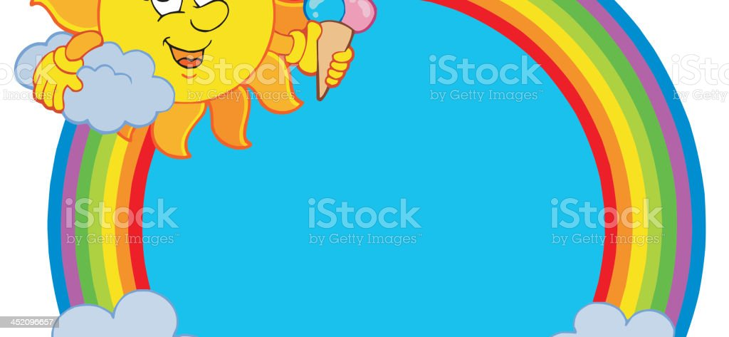 Sun with icecream in rainbow circle royalty-free stock vector art
