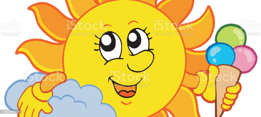Sun with icecream royalty-free stock vector art