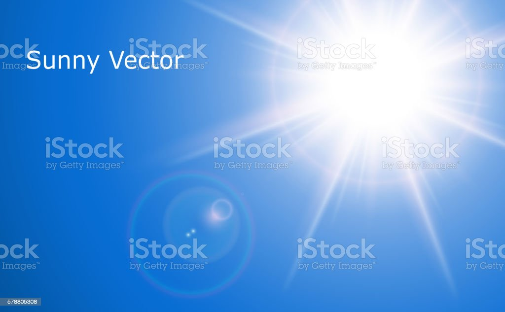 Sun with lens flare vector art illustration