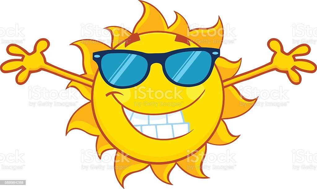 Sun With Open Arms And Sunglasses vector art illustration