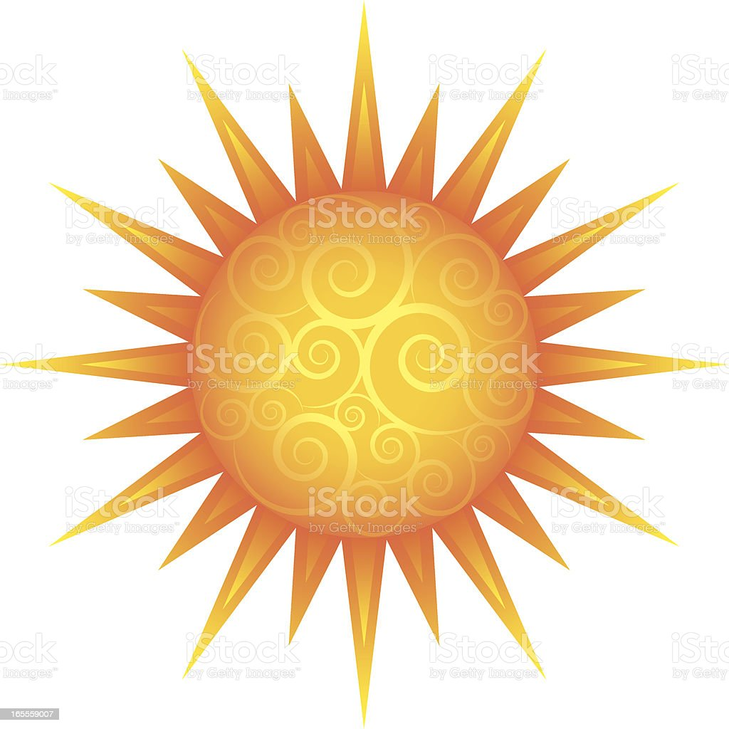 Sun with pale swirls royalty-free stock vector art
