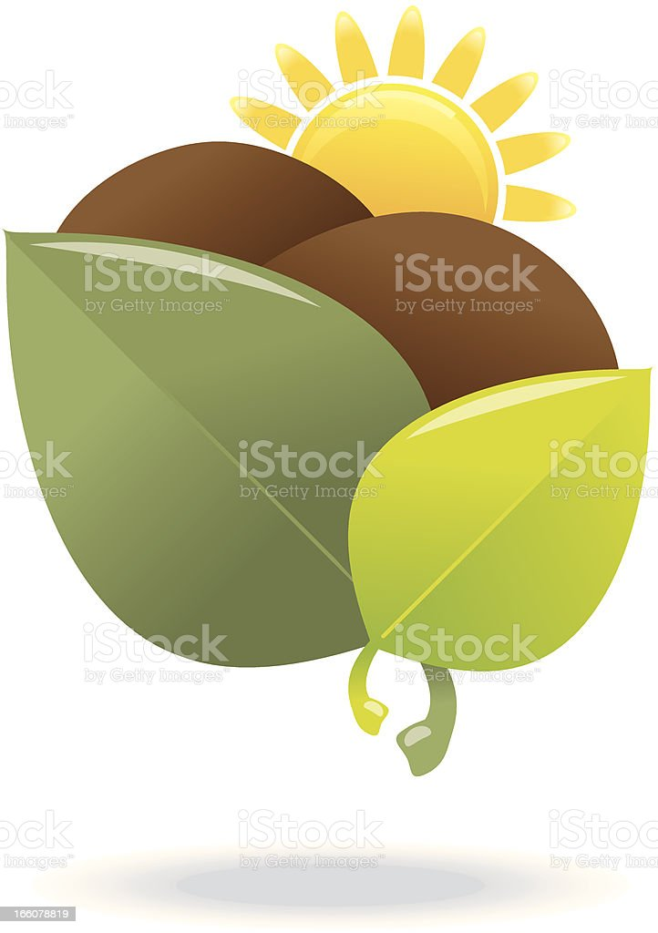 Sun with ploughed field icon royalty-free stock vector art