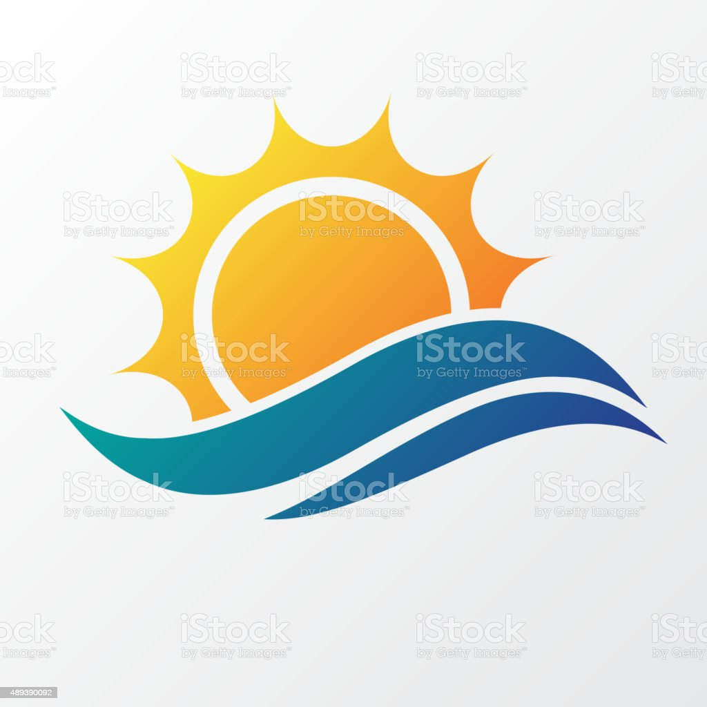 Sun with sea waves vector art illustration