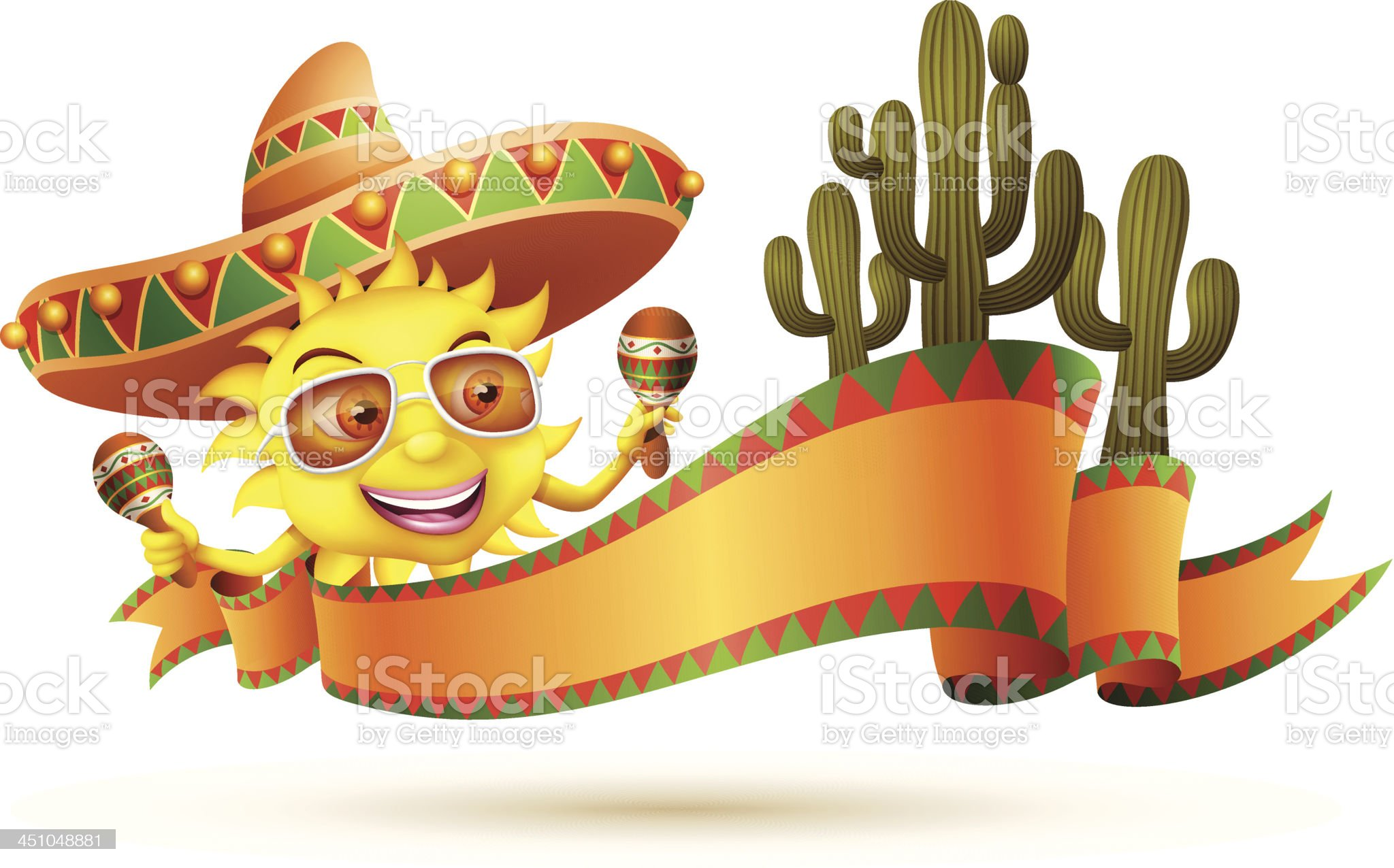 Sun with Sombrero royalty-free stock vector art