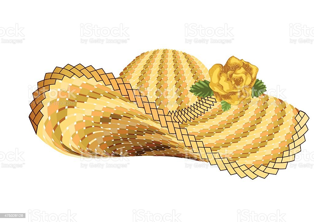 sun woman hat vector art illustration