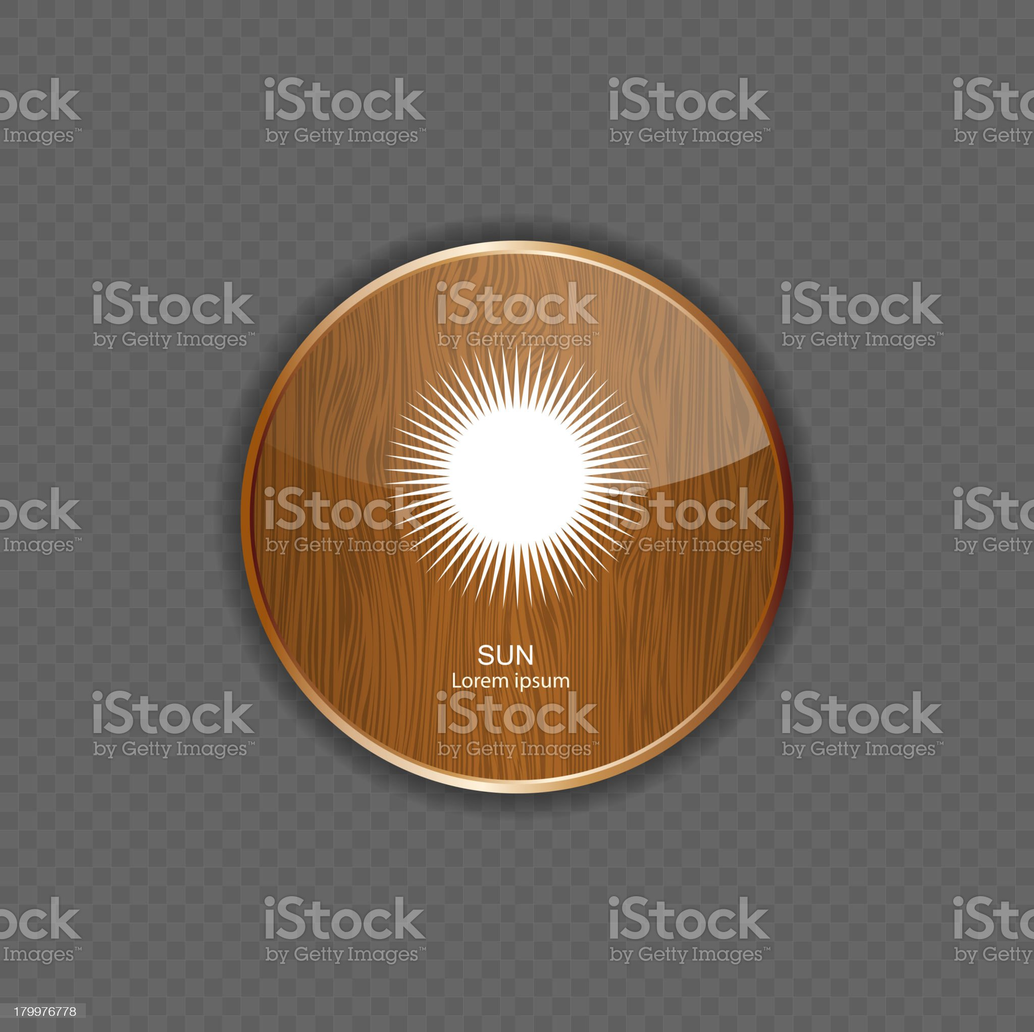 Sun wood application icons royalty-free stock vector art