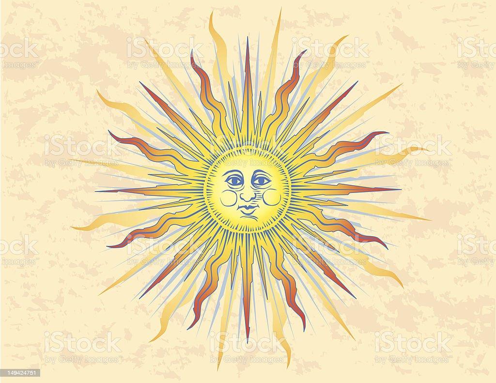 Sun Woodcut royalty-free stock vector art