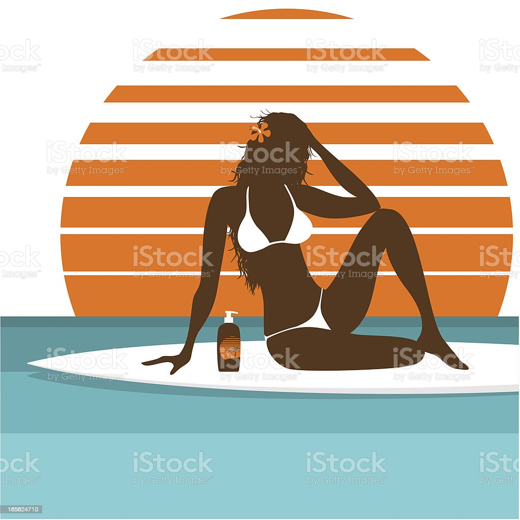 sunbath vector art illustration