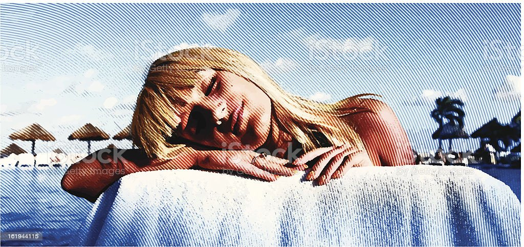 Sunbathing And Daydreaming vector art illustration