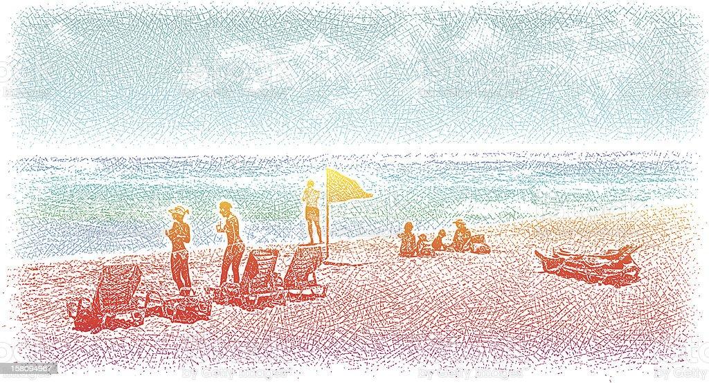Sunbathing at the Beach vector art illustration