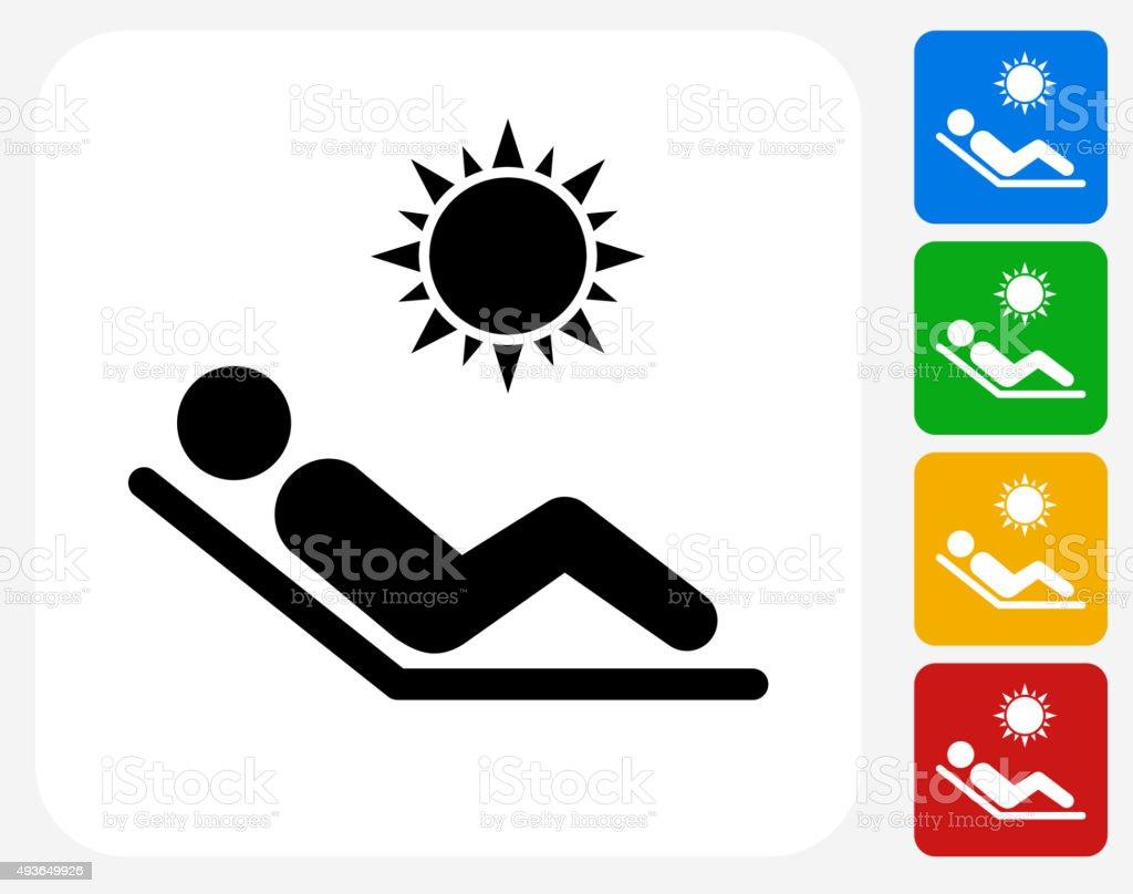 Sunbathing Icon Flat Graphic Design vector art illustration