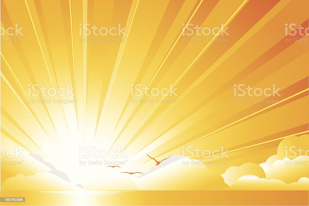 Sunburst Clouds on orange horizon royalty-free stock vector art