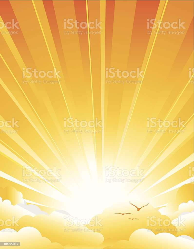 Sunburst & Clouds orange vector art illustration