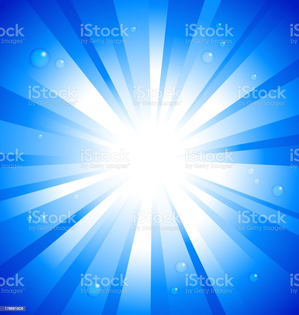 Sunburst on blue background with water drops royalty-free stock vector art