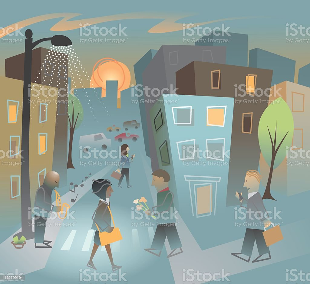 Sundown in the City royalty-free stock vector art