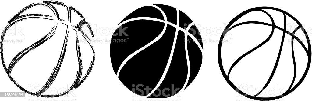 Sundry Basketballs vector art illustration