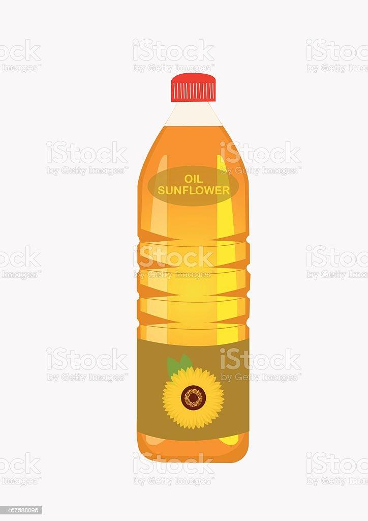 Sunflower oil in the Bottle. Vector Illustration vector art illustration
