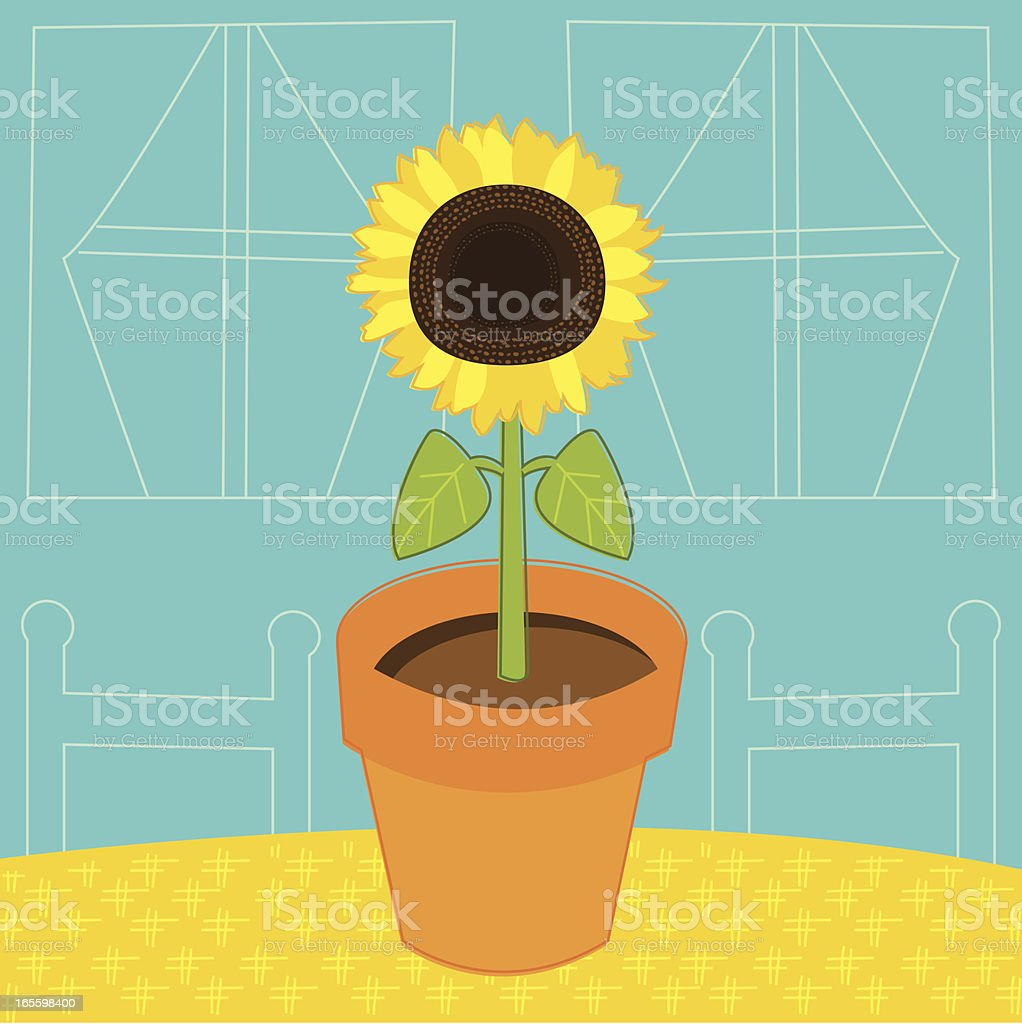 Sunflower on Table vector art illustration