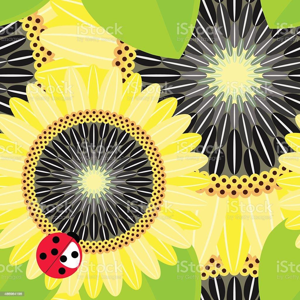 Sunflower seamless background vector art illustration