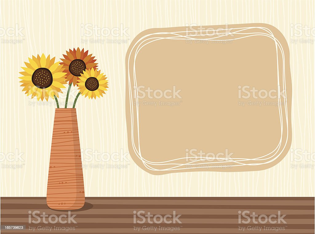 Sunflowers in a vase royalty-free stock vector art