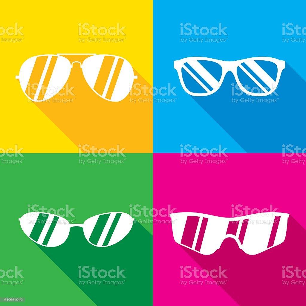 Sunglasses Icon Silhouettes Set vector art illustration