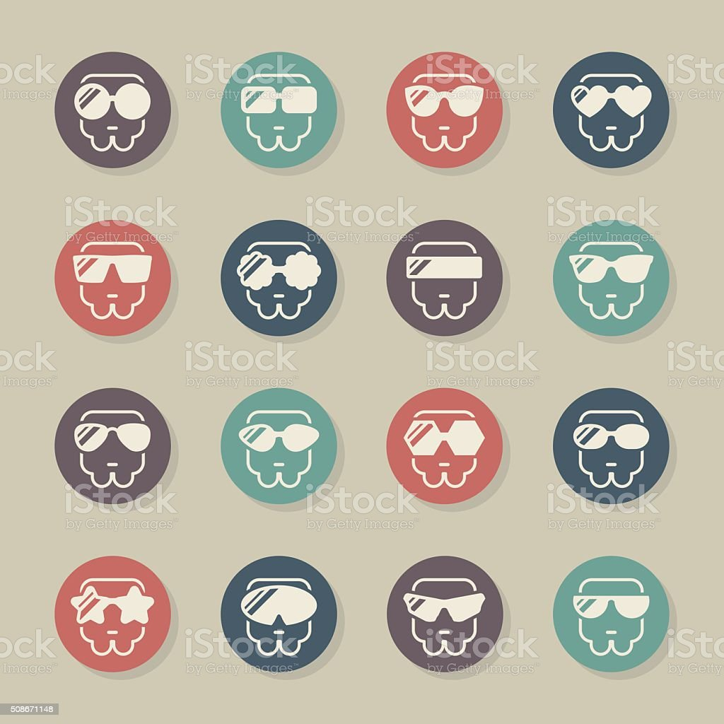 Sunglasses Icons - Color Circle Series vector art illustration
