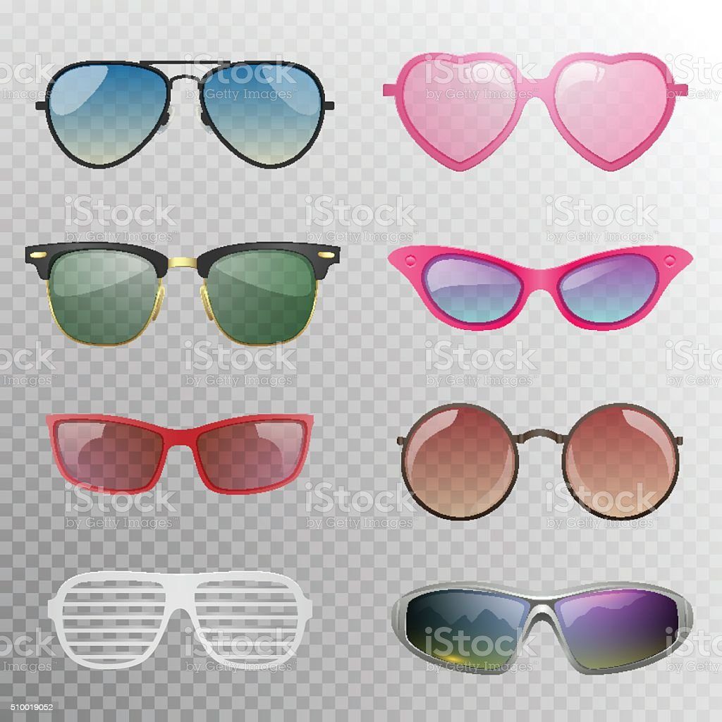 Sunglasses set vector art illustration