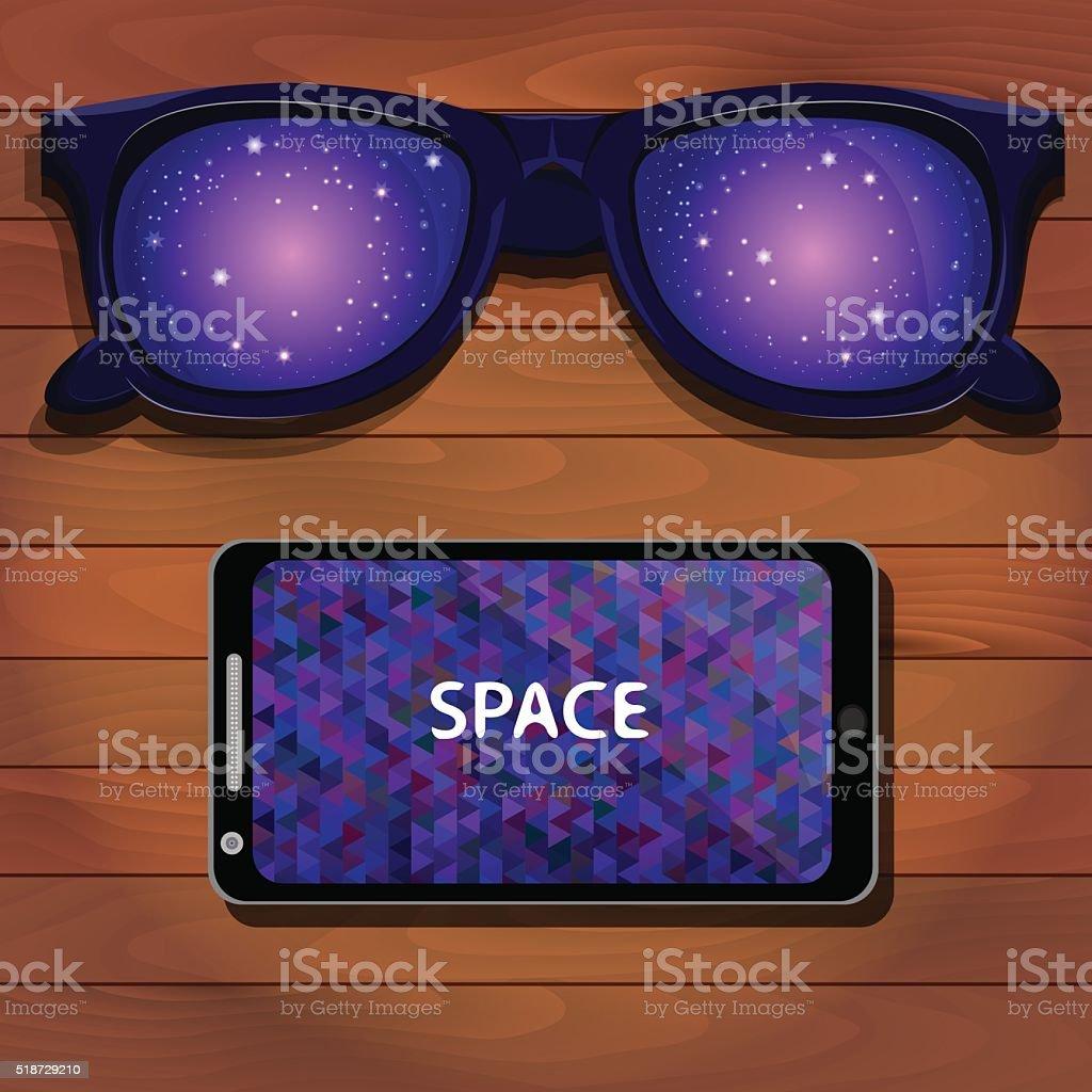 Sunglasses, smartphone, purple background vector art illustration