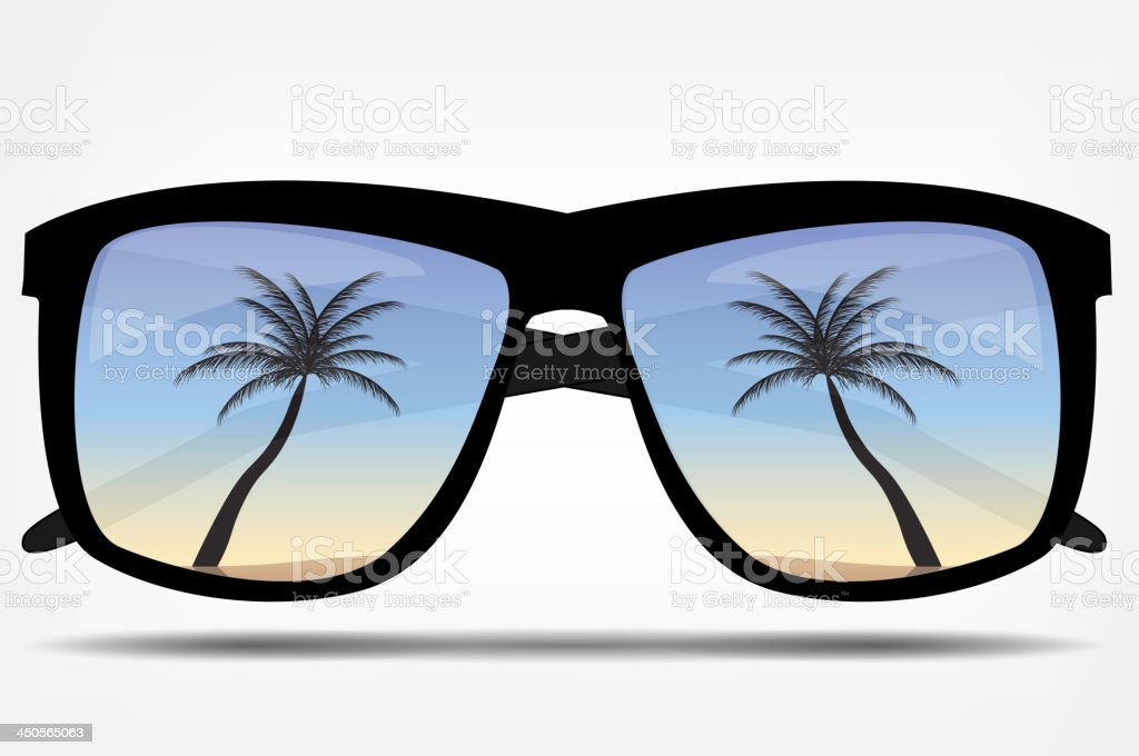 Sunglasses with a palm tree vector illustration royalty-free stock vector art