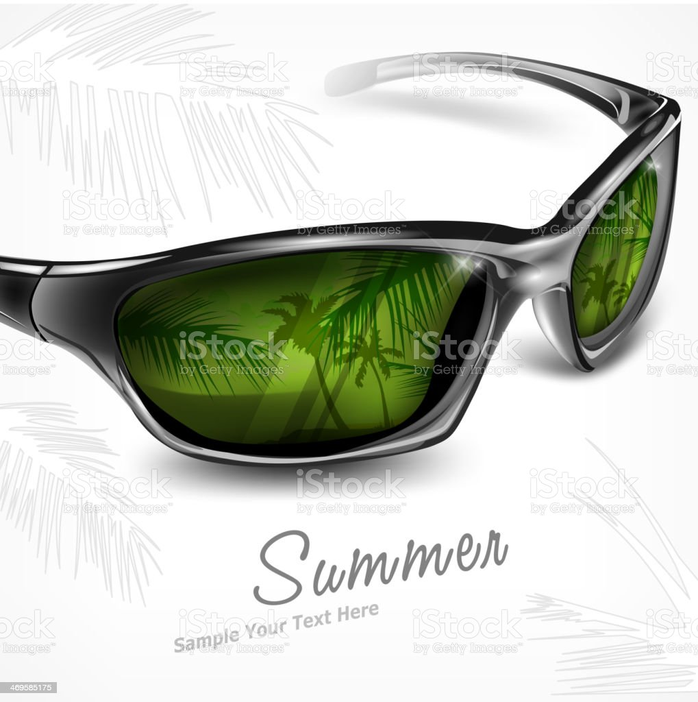 Sunglasses with reflection on white royalty-free stock vector art