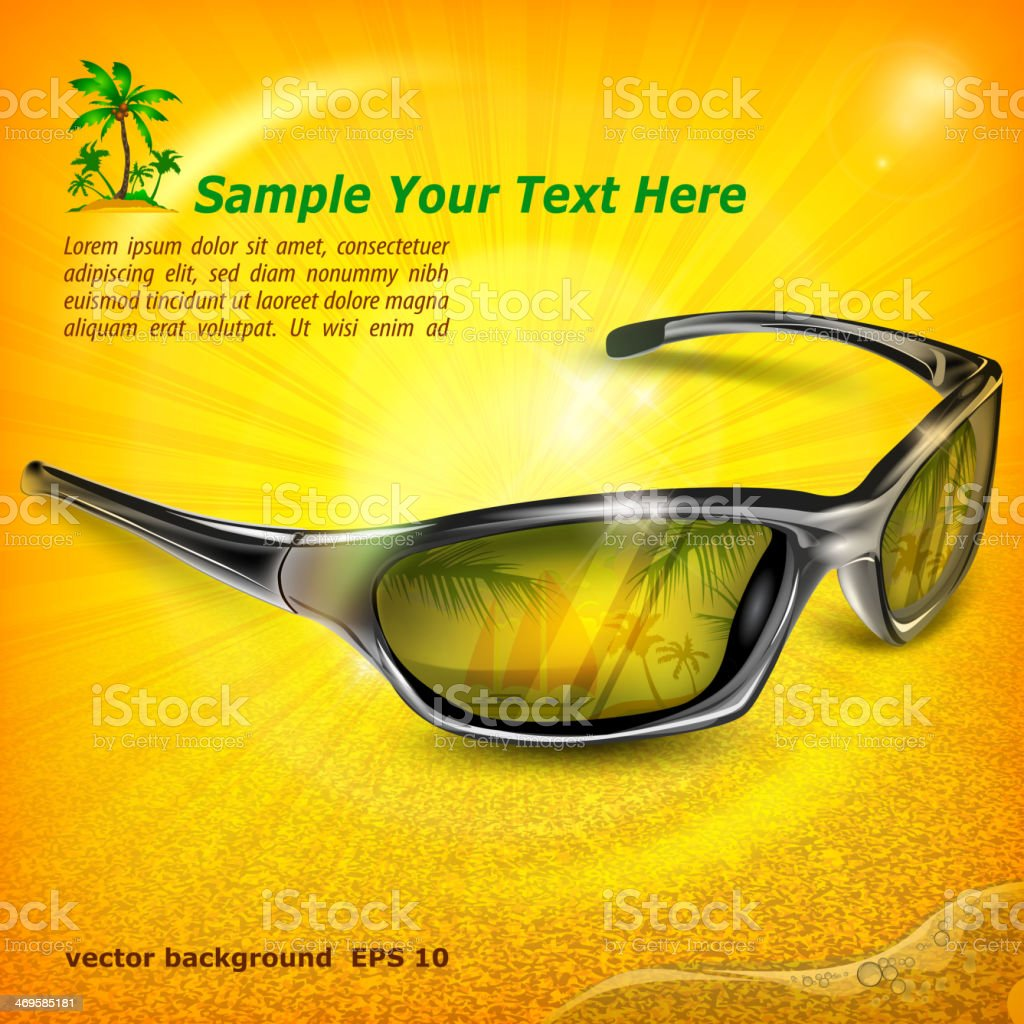 Sunglasses with reflection on yellow royalty-free stock vector art