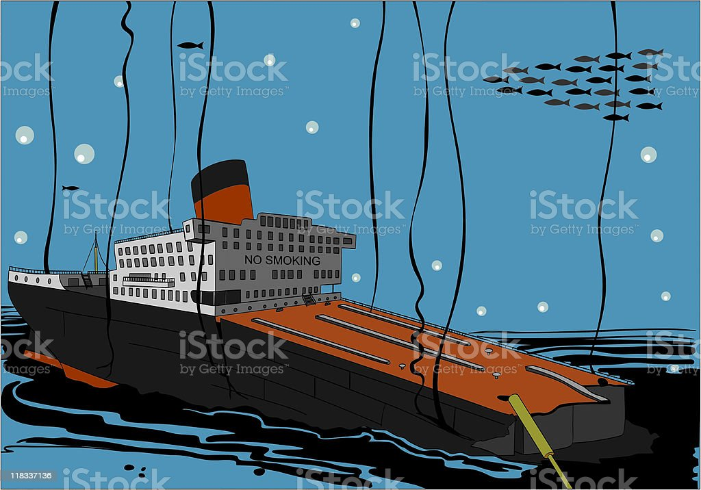 Sunk Tanker Vessel royalty-free stock vector art