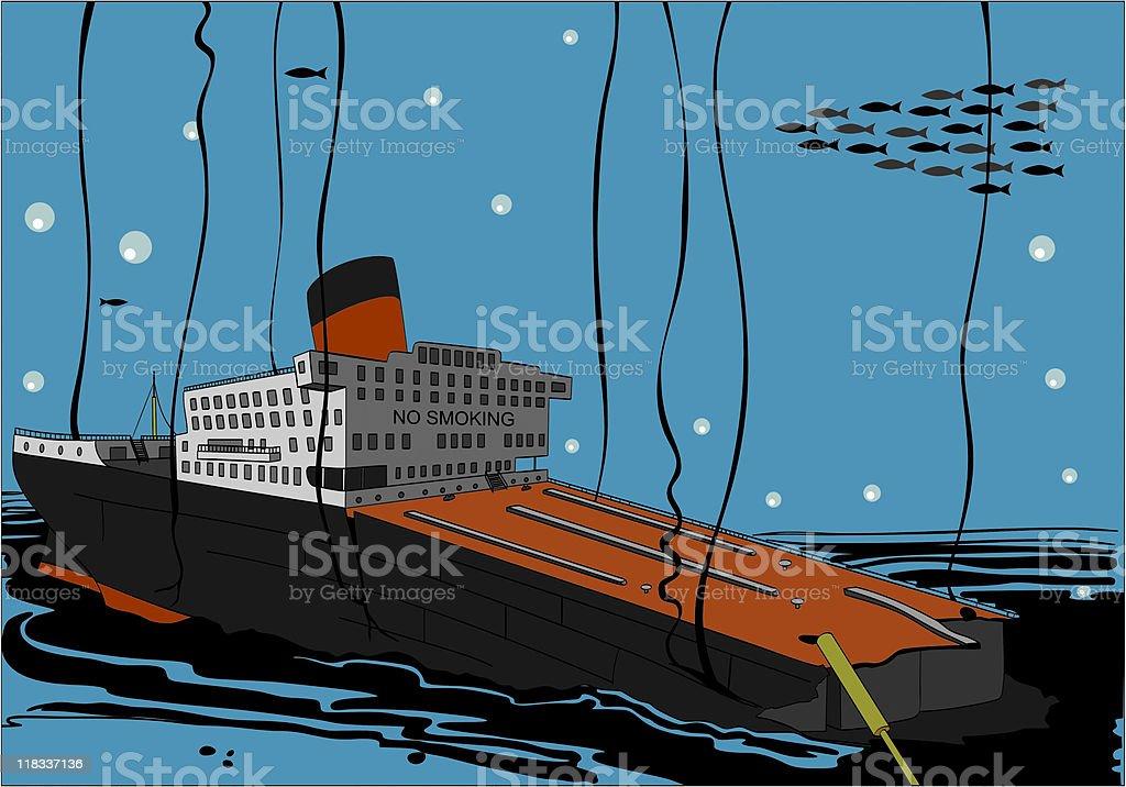 Sunk Tanker Vessel vector art illustration