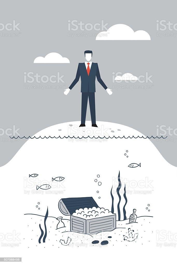 Sunken costs vector art illustration
