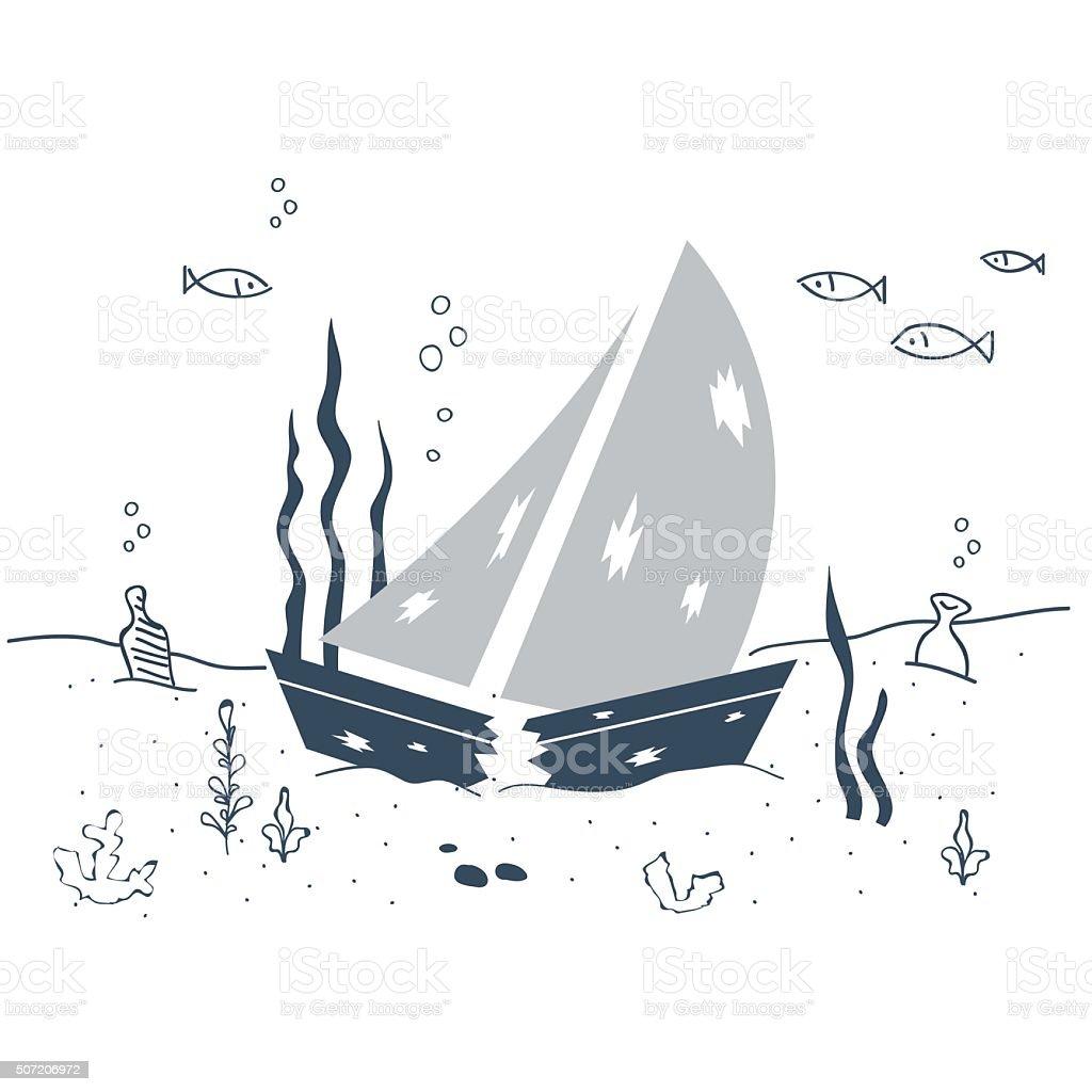 Sunken ship on the sea bottom vector art illustration