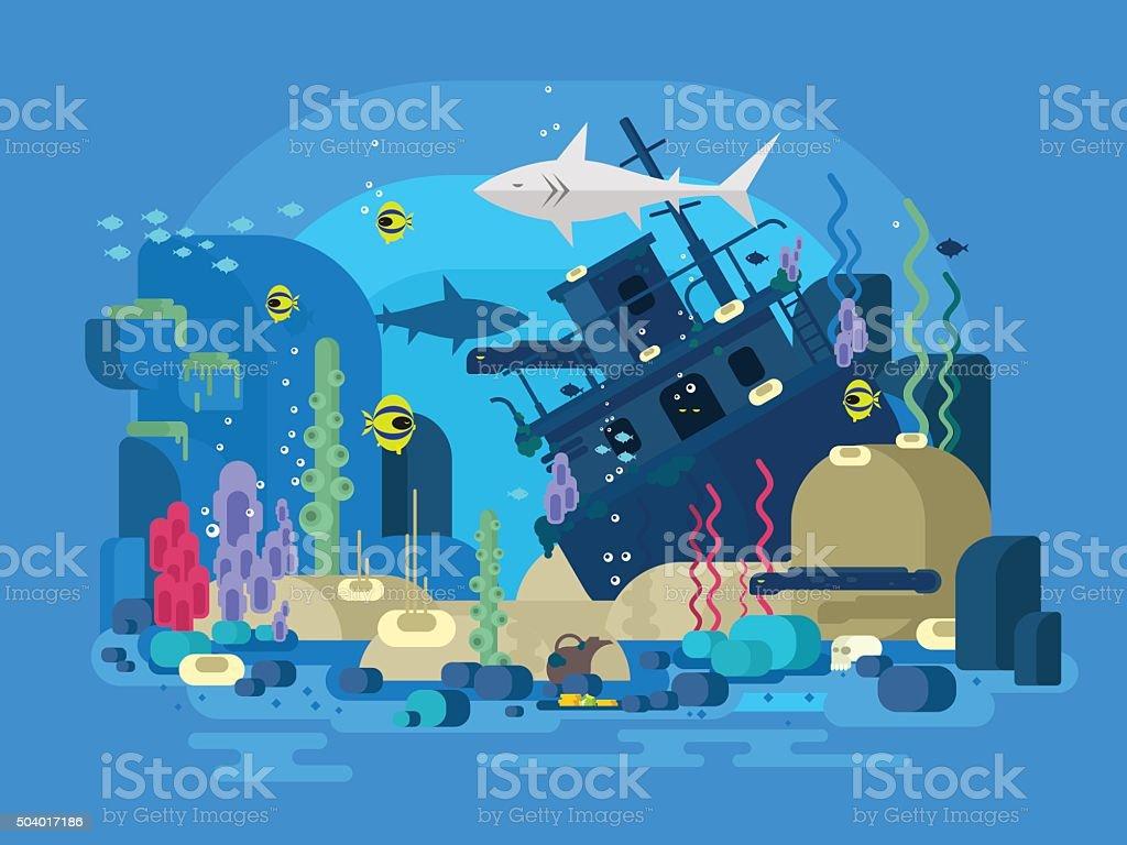 Sunken ship under water vector art illustration