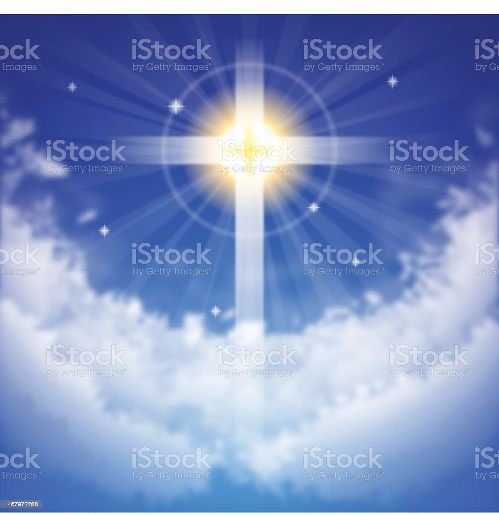 Sunlight cross 'Blessing' vector art illustration