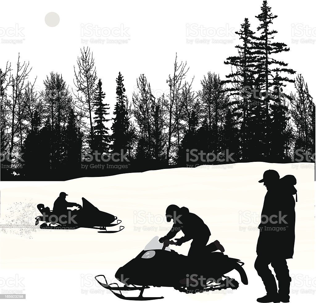 Sun'n Winter Vector Silhouette vector art illustration