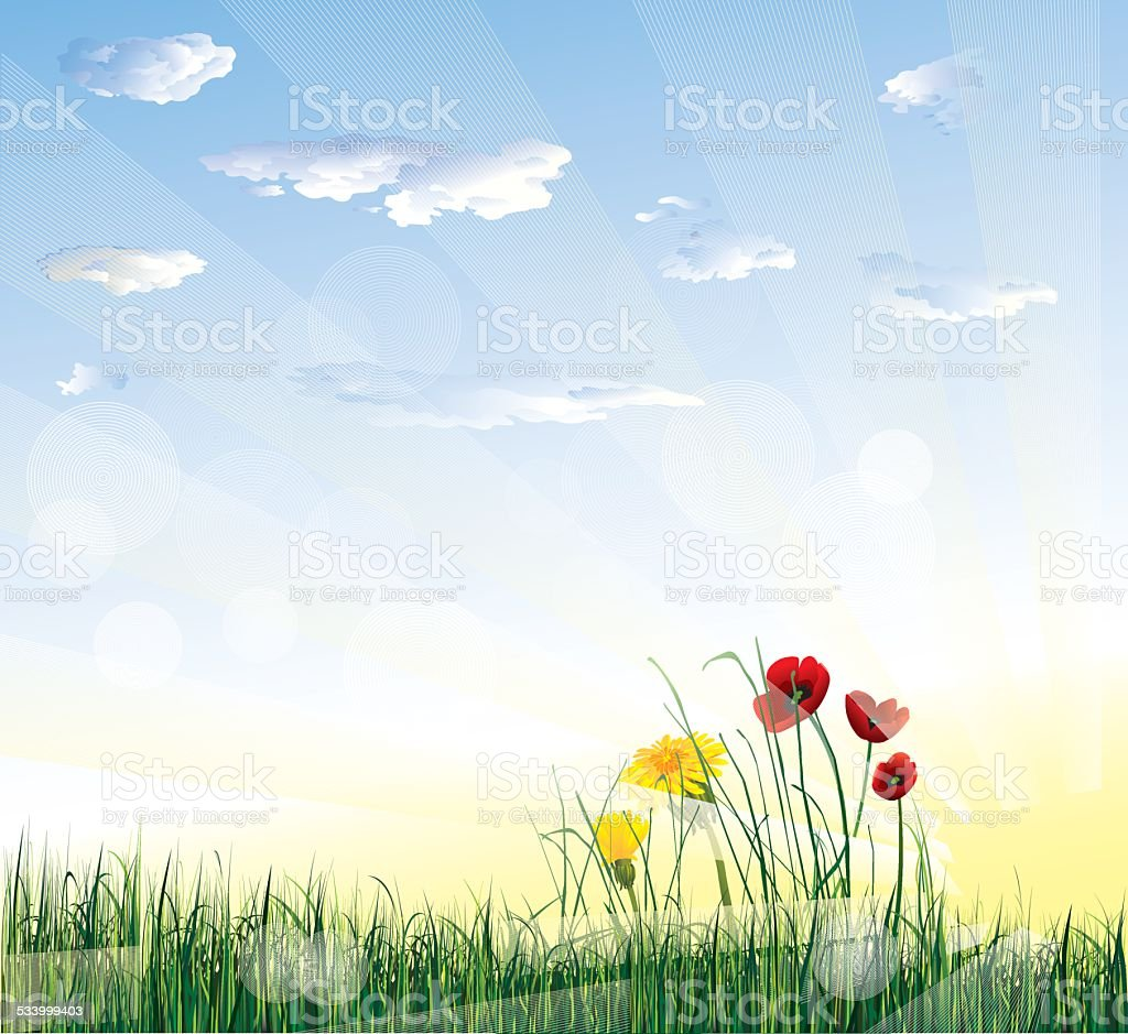 Sunny background vector art illustration