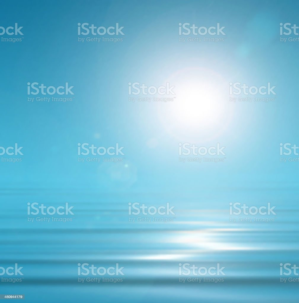 Sunny, blue background vector art illustration