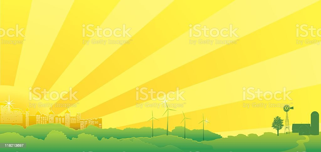 Sunny City and Country royalty-free stock vector art