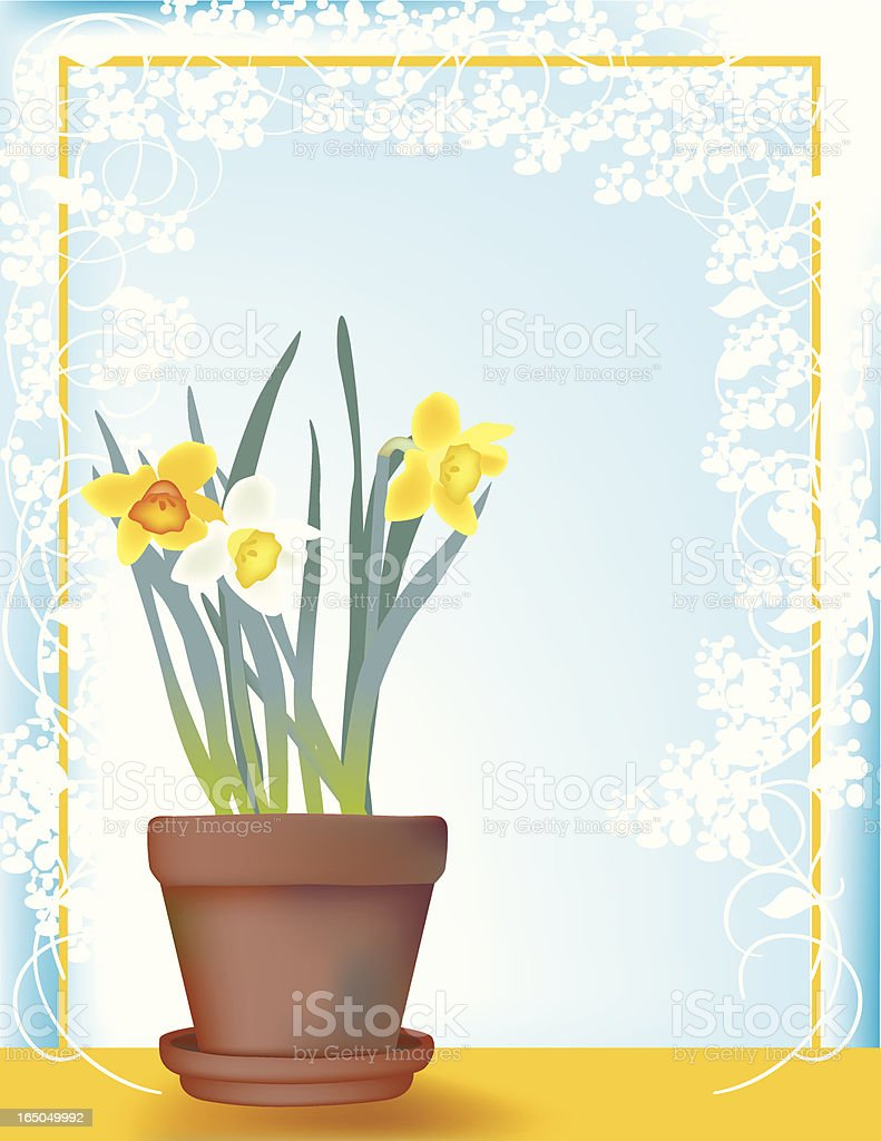 Sunny daffodils vector art illustration