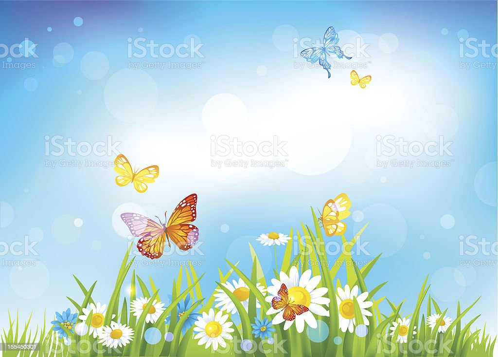 Sunny day background with flowers vector art illustration