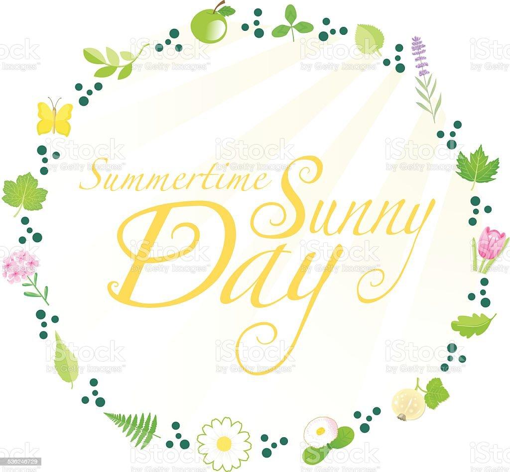 Sunny Day in Summertime (Flowerborder) vector art illustration