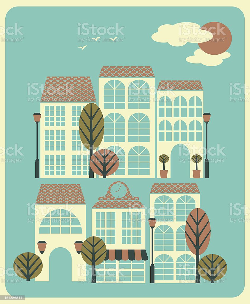 Sunny Day in the City royalty-free stock vector art