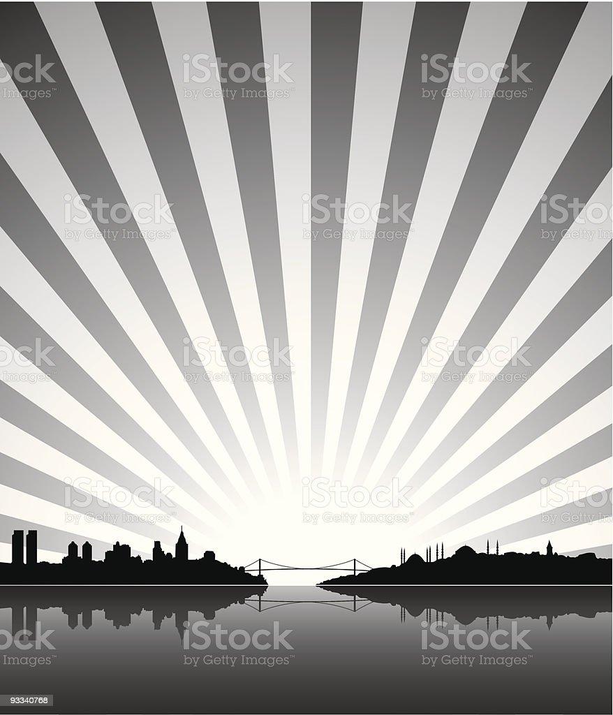 Soleil silhouette d'Istanbul stock vecteur libres de droits libre de droits