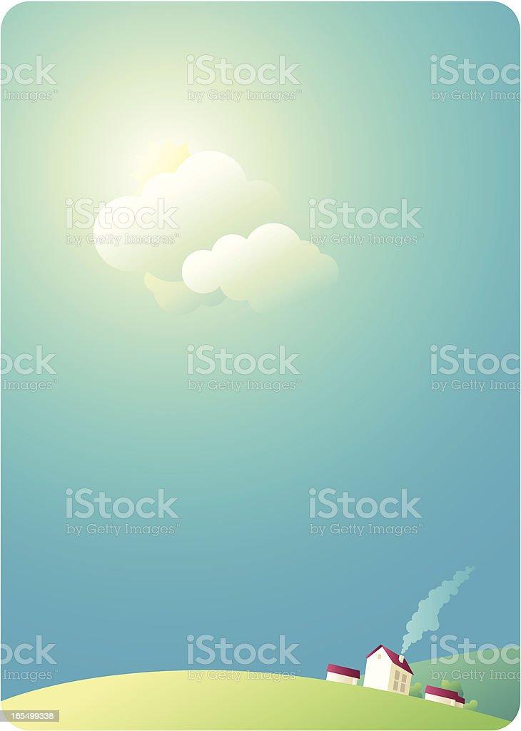 sunny landscape background vector art illustration
