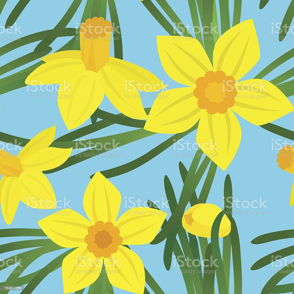 Sunny narcissus seamless pattern royalty-free stock vector art